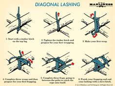 how to tie diagonal lashing illustration Homestead Survival, Wilderness Survival, Camping Survival, Survival Prepping, Survival Skills, Emergency Preparation, Emergency Preparedness, Bushcraft, Scout Knots