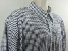 L.L. Bean Mens Blue Checked 100% Cotton Long Sleeve Button Shirt XXL 2XL Tall #LLBean #ButtonFront