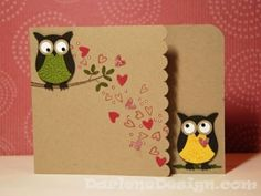 Owl punch hearts card