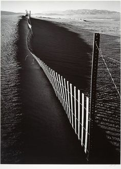 Sand fence, Keeler, California, 1948 by Ansel Adams. // I love me my Ansel Adams. Edward Weston, Black And White Landscape, Black N White Images, Ansel Adams Photography, Art Photography, Famous Photographers, Landscape Photographers, Ansel Adams Photos, Photo D Art