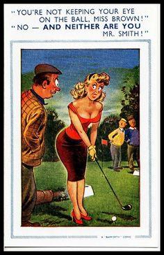 Early 1940 Signed Bamforth comic Risqué Postcard Golf Niblick club Ball Tee Off
