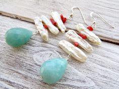 Biwa pearl earrings with red coral light blue amazonite
