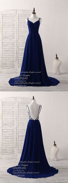 Simple blue chiffon long prom dress backless blue evening dress