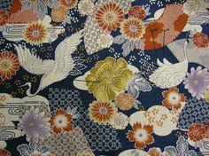▲和柄 - 商品詳細 型押しちりめんプリント (鶴) 110cm巾 綿100%/生地の専門店 布もよう