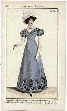 Costume Parisien 1821. Regency fashion plate.