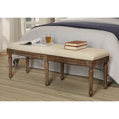 "Hiram Bench from Joss & main.  51""w x 16""d x 19""h.  $315.  Birch wood and linen upholstery (also mentions polyester -- blend?)"