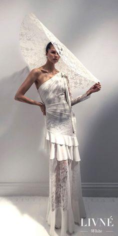 Alon Livne 2018 2019 white bridal asymmetrical one shoulder long sleeves ruffled skirt bohemian sheath wedding dress with mandy hat sweep train (sophia)  White Wedding Dress. D.Martin