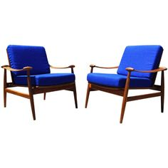 Pair of 133 Armchairs by Finn Juhl, Manufactured by France & Daverkosen | From a unique collection of antique and modern armchairs at http://www.1stdibs.com/furniture/seating/armchairs/