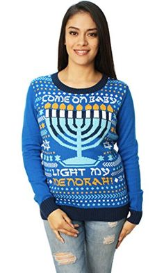 Ugly Christmas Sweater Womens Come On Baby Light My Menorah LED Hanukkah Sweater Ocean Blue ** Visit the image link more details.