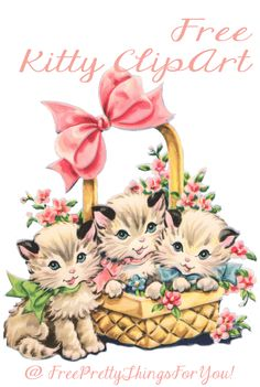 Free Vintage Kitty Cat Clip Art - Free Pretty Things For You Vintage Cat, Vintage Paper, Vintage Clip Art, Vintage Pictures, Vintage Images, Decoupage, Image Clipart, Cat Party, Illustrations