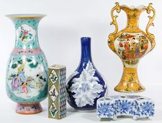 Lot 562: Asian Ceramic Vase Assortment; Five items including a square vase with incised mark on the underside and four unmarked ceramic vessels