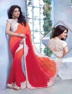 Orange and Red embroidered Georgette saree with blouse - Thankar - 443706 Lehenga Saree, Georgette Sarees, Ethnic Wear Designer, Latest Sarees, Work Sarees, Party Wear Sarees, Indian Outfits, Indian Clothes, Indian Fashion