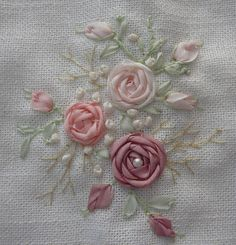 Lovely ribbon work roses