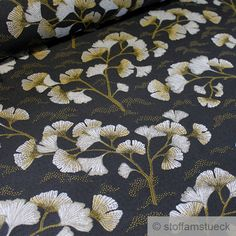Eigenschaften: -blickdicht -fest (nicht hart) Ginkgo, Weaving, Tapestry, Leaves, Beige, Quilts, Blanket, Master Bath, Fabric
