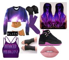 """""""Purple Black and Blue Galaxy"""" by alexisotey14 ❤ liked on Polyvore featuring Lorna Jane, Falke and Lime Crime"""