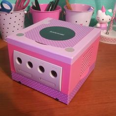 Here's my super cute gamecube! I used washi tape for the lilac and polka dots…