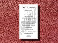 #Wedding Reception #Dinner #Menu by WeddingsByJamie on Etsy, $20.00