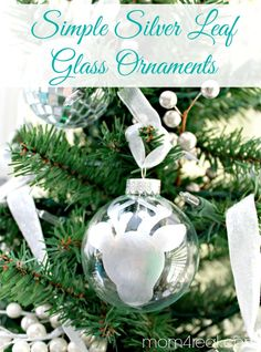 Simple Silver Leaf Glass Ornaments