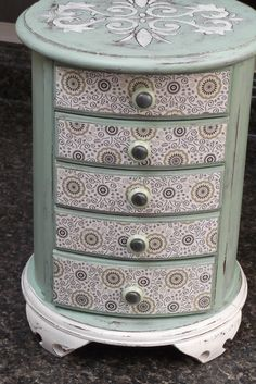 Rare Round Vintage all Wood Jewelry Box, Hand Painted in Mint and Sage, Shabby Chic,upcycled, jewelry box, farmhouse style on Etsy, $105.00
