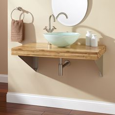 """37"""" Bamboo Wall-Mount Vanity- 2"""" Cutout Sink-No Holes- Triangular- Brushed Steel"""