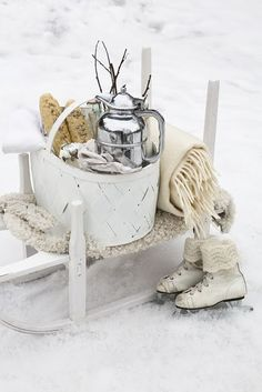 Winter decor display! would be cute on the porch!