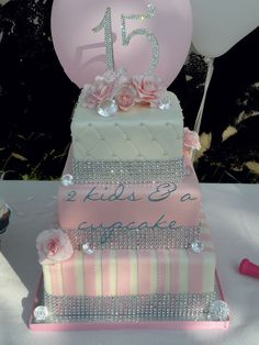 ~ Pretty Pink and White Tiered Cake with Sparkling Bling ~