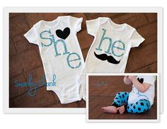 Swanky Baby Twin Girl/Boy Set of two coordinating by SwankyShank, $42.00