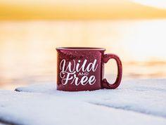 Wild and Free Mug 15 oz Campfire Stoneware Speckled Maroon Mug
