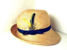c19b02d91b9 Vintage 1950s Straw Feather Tennis Hat by TenderVintage on Etsy
