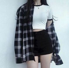 Korean Street Fashion - Life Is Fun Silo Edgy Outfits, Cute Casual Outfits, Mode Outfits, Grunge Outfits, Girl Outfits, Korean Outfits Cute, Summer Outfits, Flannel Outfits, Flannel Shirt