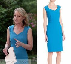 "Patricia Eamons (Helen Hunt) wears this blue sheath dress in this episode of Shots Fired, ""Hour Nine: Come on Jesus"". It is the Hugo Boss Delura Sheath Dress in Aqua. Helen Hunt, Shots Fired, Work Clothes, Season 1, Hugo Boss, Sheath Dress, Aqua, Dresses For Work, Tv"