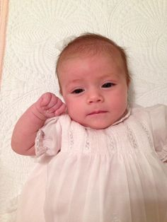 Good Morning Sunshine! How sweet and delicate is this little doll face! Sadie is in her Mama's vintage Feltman Brothers dress from 1988!  http://feltmanbrothers.com