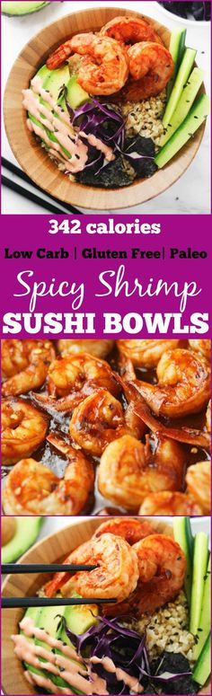 Low Carb Spicy Shrimp Sushi Bowls - delicious, gluten free and paleo sushi bowls made with cauliflower rice and packed with flavor! Totally guilt free . www.itscheatdayeveryday.com (Low Carb Gluten Free Recipes)