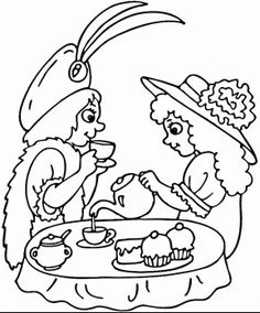 Printable Tea Party Coloring Page For Kids Arts Crafts for