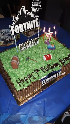 Fortnite Birthday Cake idea #partyideas #kidsbirthday #kids #kidsparty #partydecor #birthdaypartydecor #partyfavors #partysupplies #DIY #DIYparty #DIYpartydecor #fortniteparty #fortnitebr #birthdaycake Birthday Party Treats, 13th Birthday Parties, Lego Birthday, Birthday Party Decorations, Birthday Cake, Birthday Ideas, Birthday Sheet Cakes, Playstation, Diy Cake