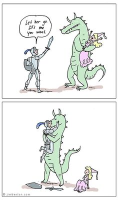 LOL I'm sorry princess, alternative fairytale ending, knight & dragon // funny pictures - funny photos - funny images - funny pics - funny quotes - #lol #humor #funnypictures