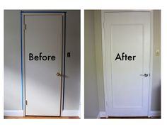 Glue or nail trim to make a picture frame on hollow doors to dress up until we can afford to buy new ones