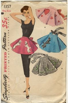 Simplicity 1357 Vintage Poodle Skirt Apron pattern with appliques Vintage Apron Pattern, Vintage Sewing Patterns, Apron Patterns, Retro Apron, Dress Patterns, Retro Mode, Mode Vintage, 1950s Poodle Skirt, Poodle Skirts