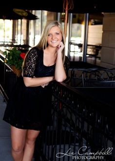 Elegant and trendy senior photo session photographed at an outdoor cafe with Liz Campbell Photography of Killeen, TX.