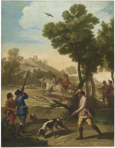 Hunting party, 1775.  Two kinds of hunting are depicted in this scene, on foot and on horseback, also including various forms of small game. It was part of the first order received Goya for the Royal Tapestry Factory of Santa Barbara in 1774-1775.