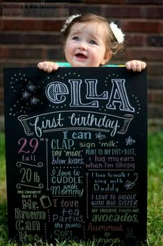 Cute Chalkboard Sign at a Pink Lemonade and Pinwheels 1st Birthday Party with REALLY CUTE Ideas via Kara's Party Ideas