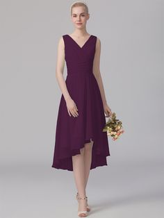 Pin to Win a Wedding Gown or 5 Bridesmaid Dresses! Simply pin your favorite dresses on www.forherandforhim.com to join the contest! | V-neck High-low Dress $139.99