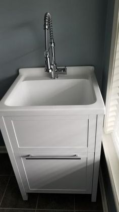 Schon Eleni All-In-One Kit 24 in. x 22 in. Acrylic Utility Sink with Cabinet in White at The Home Depot - Mobile Small Utility Sink, Laundry Room Utility Sink, Laundry Tubs, Laundry Room Remodel, Small Laundry Rooms, Laundry Room Storage, Basement Laundry, Laundry Room Design, Laundry In Bathroom
