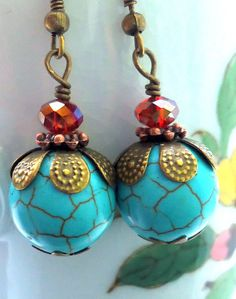 Turquoise  Earrings Turquoise Blue EarringsTurquoise by 5andUnder, $12.00