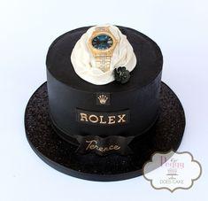 """Gentleman's """"Rolex"""" themed birthday cake in black buttercream.  #rolexcake #mancake #watchcake #gentlemanscake #fathercake #masculinecake #blacktiecake #peggydoescake"""