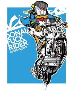 Donald duck X Vespa #donaldduck #vespa #mohogono #vector #vectorillustrations #vector_id #characterdesign #pirategraphic #thailand #udontani #adobe #adobeillustrator #digitalart #artistdrop #bestvector #graphicdesigncentral #talenthouseartist...
