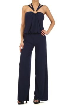 Sleeveless Jumpsuit With Wide Leg Pants