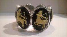 The Centaur: Upcycled handmade Victorian, Gothic, Steam punk black cameo style ajustable panel bracelet