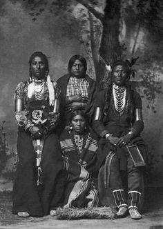 CROW NATIVE AMERICANS, 1883. Four Crow Native Americans. Left to right: Medicine Man, two unidentified women, Old Coyote. Studio photograph by F. Jay Haynes, 1883.