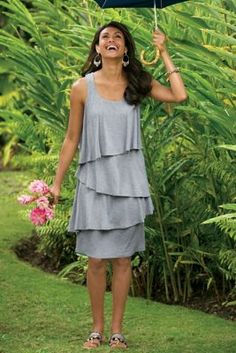 Darcie Dress - Knit Tank Dress, Tiered Dress   Soft Surroundings. ordered this in blue!